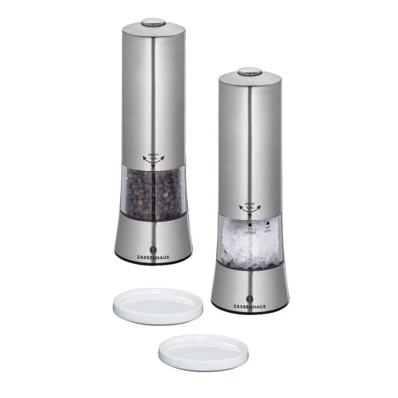 elektrische salz und pfefferm hle mit porzellanuntersetzer. Black Bedroom Furniture Sets. Home Design Ideas