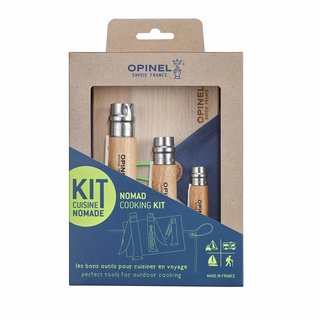 Opinel Nomad Cooking Messerset mit Holzbrett Tuch