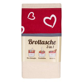3 in 1 Brottasche Herzen - Brotkorb Brotbeutel